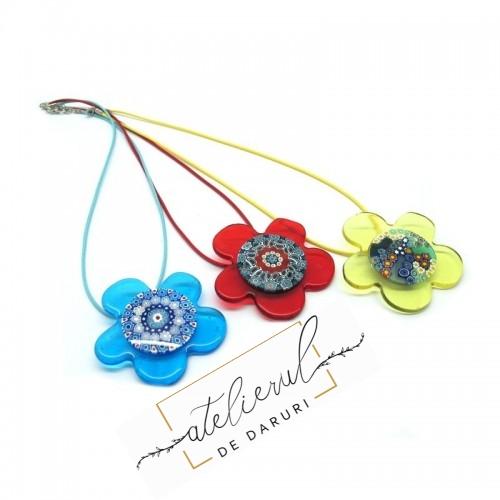 Colier Floare Albastra din...