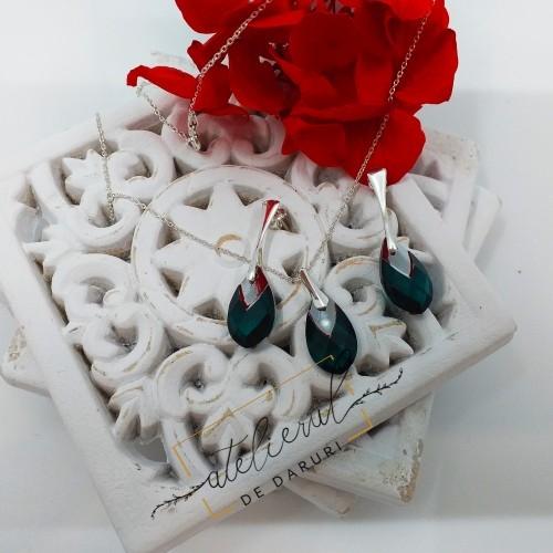 Set Argint Cristal Smarald